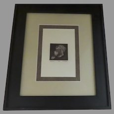 """Original Etching by J. E. Fischer Signed Numbered """"Terrier"""" Dog"""