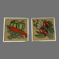 Vintage Needlepoint Pictures Framed Vegetables Sam Flax New York