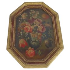 Small Vintage Dutch Master Style Flower Painting Gilt Frame