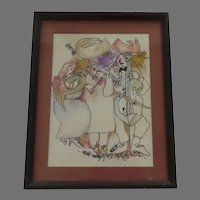 Signed Dated July 4th, 1976 Aspen Colorado Ink Crayon Drawing Music Framed