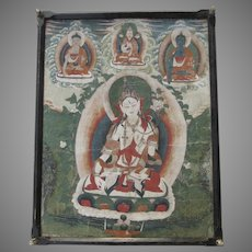 c 1880 Framed Buddhist Painting Banner or Hanging