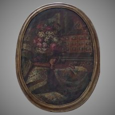 Large 19th Century Oval Oil on Canvas Still Life Flowers Fruit Vargueno in the Dutch 17th Century Style
