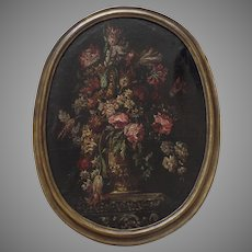 19th Century Large Still Life Oval Oil on Canvas Painted in the Dutch17th Century Style