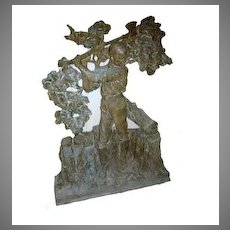 Bronze Bas Relief by Pompeo Coppini Signed WPA Handsome Boy Chopping Wood