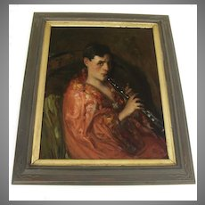 Oil on Canvas by Antonio Barone Woman Clarinet