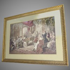 "1930's  Framed Aquatint Depicting ""Mozart at the Court of Marie Antoinette"" by VIncente Garcia de Paredes"