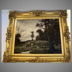 Oil on Canvas by Adolf Kaufmann Sheep Hearder Monumental Gilt Frame