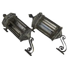 Monumental Galvanized Metal and Iron  Exterior Building Lanterns with Brackets
