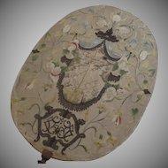 Oval 18th Century Needlework Raised Silver Thread On Stand Italian