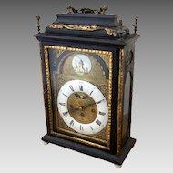 Austrian European Early Enamel Dial Crown Wheel Escapement Mantel Table Bracket Clock