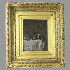"""Oil on Panel by Sir John Everett Millais Signed """"The Secret"""" c 1860"""