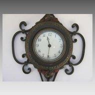 Iron Painted Iron Polychrome Clock by Seth Thomas