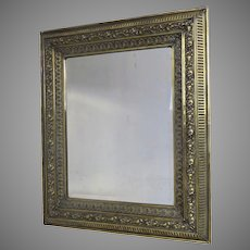 English Large Brass Repousse Mirror c 1860