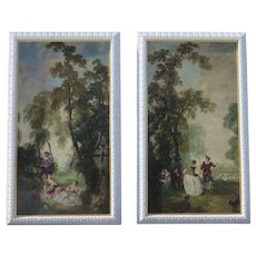 Pair of French Oil on Board Paintings