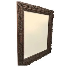 """Monumental Walnut Carved Italian Mirror 58"""" by 68"""" Figures in Niches"""