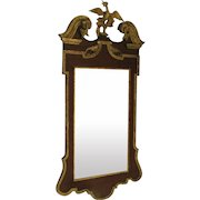 Vintage George III Style Gilt and Mahogany Large Mirror with Carved Gilt Bird c 1920
