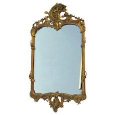 19th Century English Carved Gilt Rococo Mirror.
