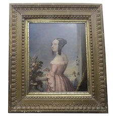 19th Century Oil on Board of Young Girl Interior Gilt Frame