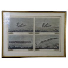 Hand Colored Engraving by J B Louvion 18th Century Military Battle