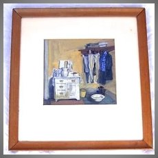 Gouache of an Interior Signed Lower Right.