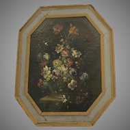 Dutch or Italian Flower Painting in the Style of Monnoyer Painted Octagonal Frame