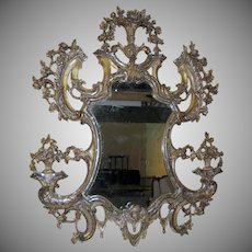 Large 18th Century Italian Carved Silver Gilt Mirror