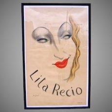 Original Vintage Poster, Lita Recio by Jean Karquel 1941