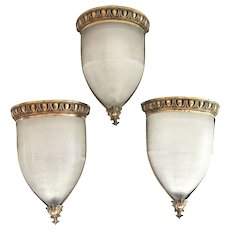 Set of Three Copper Wall Sconces with Ribbed Glass Shades Egg and Dart Border
