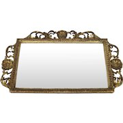 19th Century English Carved and Gilt Horizontal Rectangular Wall Mirror Shell Motif