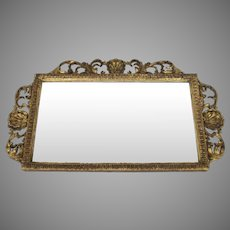 19th Century English Carved and Gilt Horizontal Rectangular Wall Mirror Shell Motif