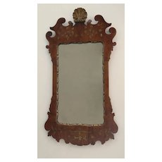 Queen Anne Style Walnut Gilt Mirror Shell Finial