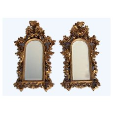 Pair of Italian Carved Gilt Rococo Mirrors Narrow