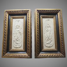 """Pair of  """"Arts And Commerce Promoted"""" Marble Plaques Mid 19th Century"""
