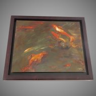 Oil on Board Denver Artist Edwin Friedman Koi Signed