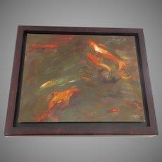 Oil on Board Denver Artist Edwin Friedman Koi Signed