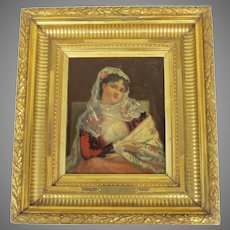 Small Oil on Board Constantin Makovsky Signed Gilt Frame