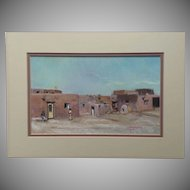 "1989 Signed and Dated Pastel Adobe Village Title ""Tuesday Afternoon Taos Pueblo"""