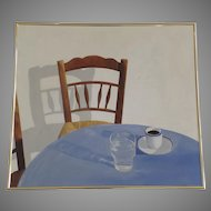 Large Painting on Canvas Sign Life Chair Water Coffee Signed Dated 1986 A. T. Gallup