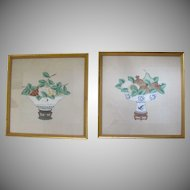 Vintage Chinese Watercolor on Silk Signed Fruit
