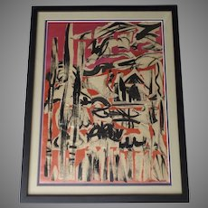 Vintage Abstract Mid Century Collage by Denver Artist Lynne Swerer