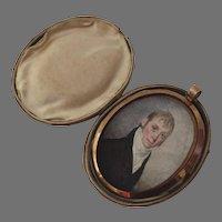Miniature Portrait by William M. S. Doyle c 1800 Locket Leather Case