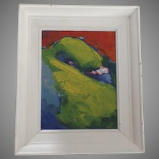 """Oil on Board by Christopher Griffin Canada 1992 """"Green Bird"""