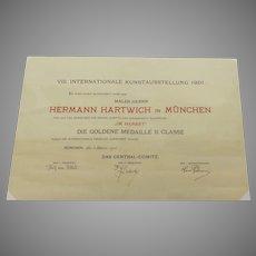 1905 International Kunstausstellung Original Award Certificate Artist Hermann Herman Hartwich