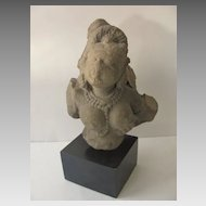Indian India 12th Century Stone Fragment Dancing Girl Breast Pearl Necklace