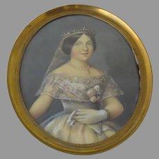 Portrait of Queen of Spain in Brass Oval Frame Tiara