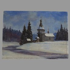 Vintage Small Oil Russian Painting Winter Scene Signed