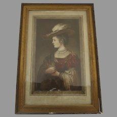 European Woman Portrait Print With Gilt Slip Frame