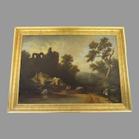Large European Cottage Farm Life Scene Ruins of Castle With Gilt Frame Cows Horse