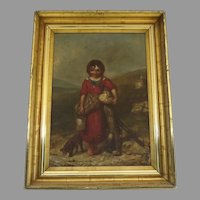 Charming 19th Century Cottage Girl Painting gilt Frame