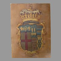 Painted Late 18th Century English Heraldry Family Crest